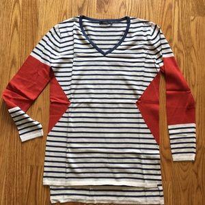 NEW Orange & Navy Striped Geo Sweater